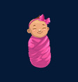 baby girl in pink wrap isolated newborn child icon
