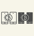 bitcoin transfer line and glyph icon crypto coin vector image vector image