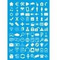Blue webdesign flat icons set vector image vector image