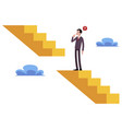 businessman stands on broken stairs thinking how vector image
