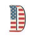 capital 3d letter d with american flag texture vector image vector image