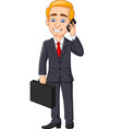 cartoon businessman talking on phone vector image vector image