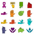 charity icons doodle set vector image