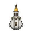 church as space rocket sketch vector image vector image