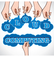 cloud computing word in hand vector image