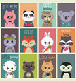 collection cute baby cards colorful vector image