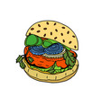 colored hand sketch hamburger vector image vector image
