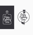 cooking utensils set with vintage lettering on vector image