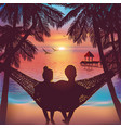 couple in love at beach background on hammock vector image vector image