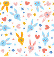 cute baby bunnies flowers and hearts vector image
