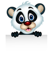 cute panda cartoon posing with blank sign vector image vector image