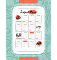 delicious seafood - drawn template menu vector image vector image