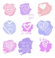 Doodle set of heartsHeart and a declaration of vector image vector image