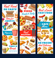 fast food pizza burger and fries delivery device vector image vector image