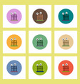 flat icons halloween set of eyes on fence concept vector image vector image