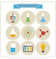 Flat School Chemistry and Science Icons Set vector image