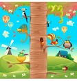 Funny animals on branches vector image