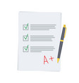 good exam results paper sheet with pen vector image