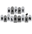 halloween typography with tombstones and raven vector image vector image