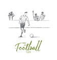 Hand drawn football player with lettering vector image vector image