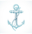 hand drawn vintage anchor vector image vector image