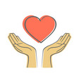 hand giving love symbol hand draw icon vector image