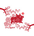 happy chinese new year 2019 card year of pig vector image vector image