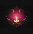 happy diwali festival lights and oil gold lamp vector image vector image