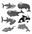 icons of sea ocean fish cartoon animals vector image vector image