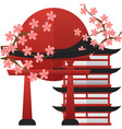 japan pagoda gate sunset sakura background vector image vector image