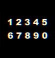 numbers distortion distorted glitch font vector image