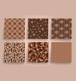 pack of 6 in 1 vintage brown seamless abstract vector image vector image