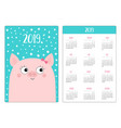 pocket calendar layout 2019 new year pig piggy vector image