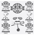 prison bbq concept labels set vector image