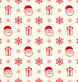 Red christmas seamless background with Santa gift vector image