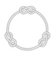 round rope frame with knots simple style line vector image vector image