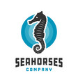 seahorse and circle logo design vector image vector image