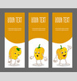 set of vertical narrow banners with vegetable vector image