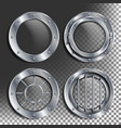 silver porthole round metal window with vector image vector image