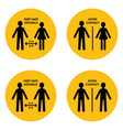simple round social distancing icon set vector image