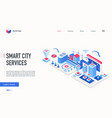 smart city service isometric landing page vector image vector image