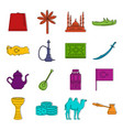 turkey travel icons doodle set vector image vector image