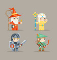 warrior mage priest archer fantasy rpg game human vector image vector image