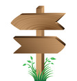 wooden sign grass and leaves vector image