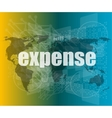 word expense on digital screen business concept vector image