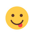yellow smiling cartoon face show tongue emoji vector image