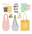 zero waste bag items vector image vector image