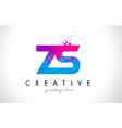 zs z s letter logo with shattered broken blue vector image