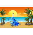 A beach with a blue monster vector image