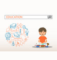 a reading boy with education search engine bar vector image vector image